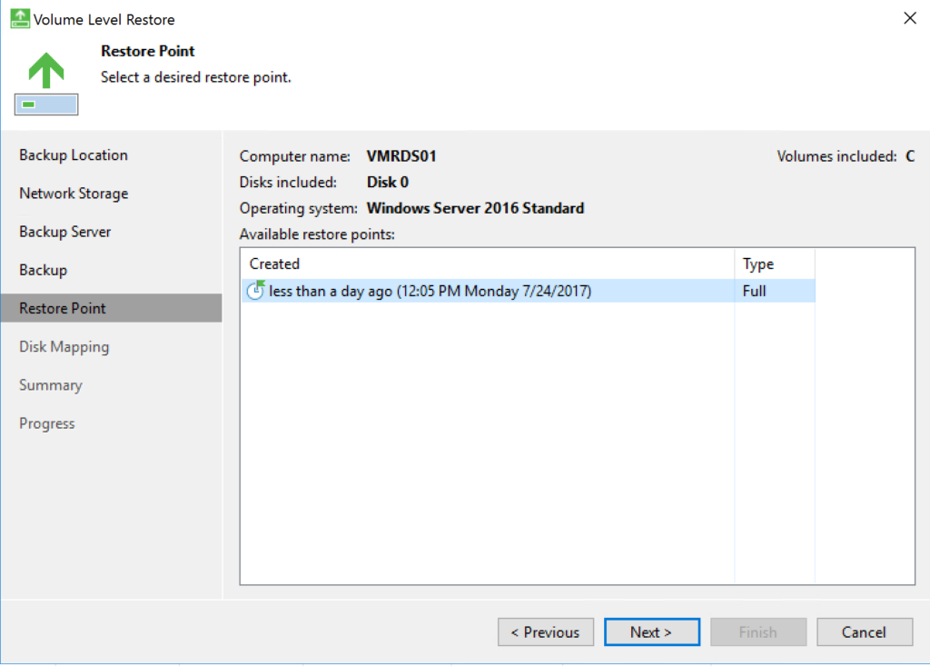 Veeam Agent - Volume Level Restore - Restore Point