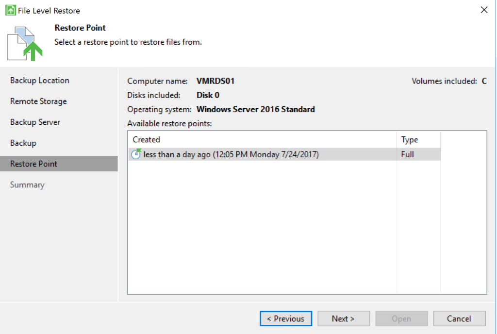 Veeam Agent - File Level Restore - Restore Point
