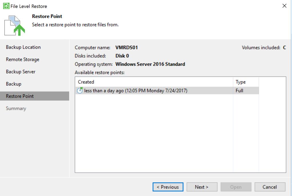 Veeam Agent - File Level Restore - Restore Point