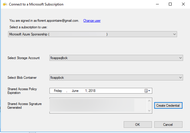 Connect to a Microsoft Subscription - Create Credential