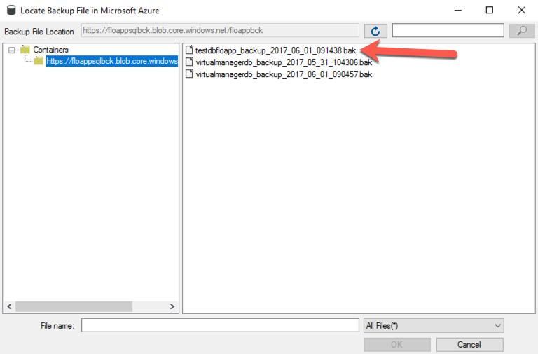 Locate Backup File in Microsoft Azure