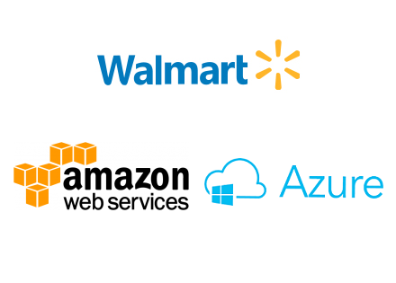 Walmart, Amazon, Azure logo