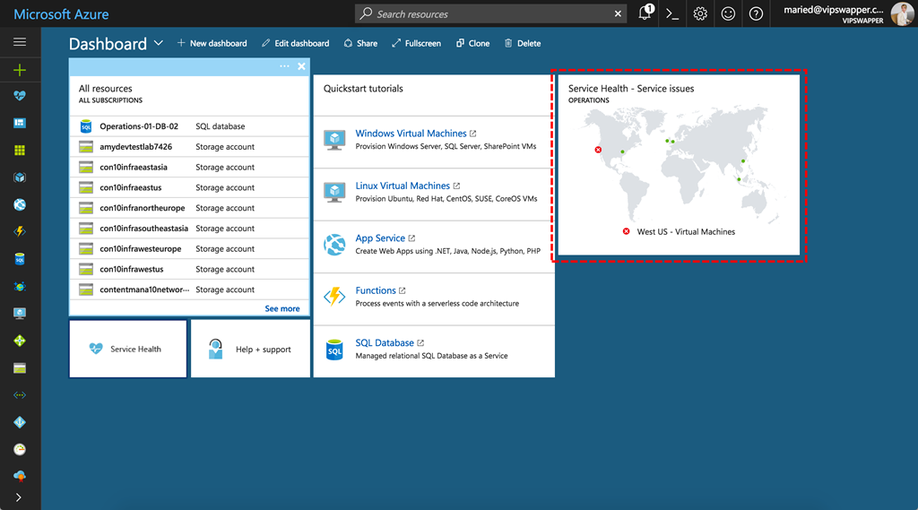 Microsoft Azure - Dashboard - public preview