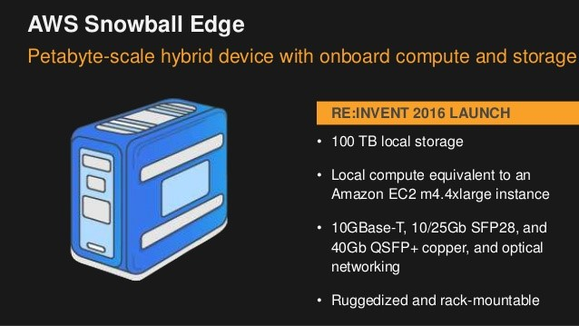 Amazon Web Services - Snowball Edge - Petabyte-scale hybrid device