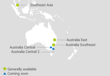 Australia map - Azure new Regions