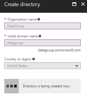 Microsoft Azure Active Directory - Create Directory - in progress