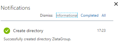 Microsoft Azure Active Directory - Create Directory - Notification