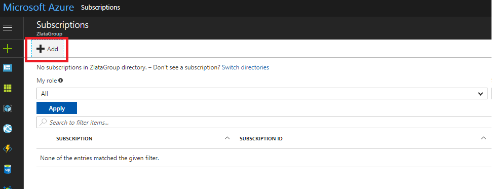 Microsoft Azure Active Directory - Subscriptions - Add
