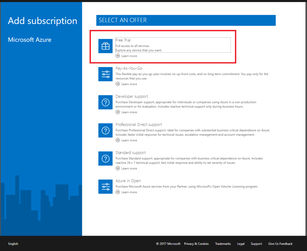 Microsoft Azure Active Directory - Add Subscriptions - Select An Offer