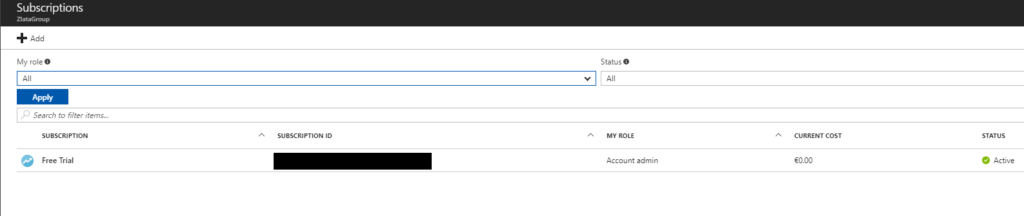 Microsoft Azure Active Directory - Subscriptions Console