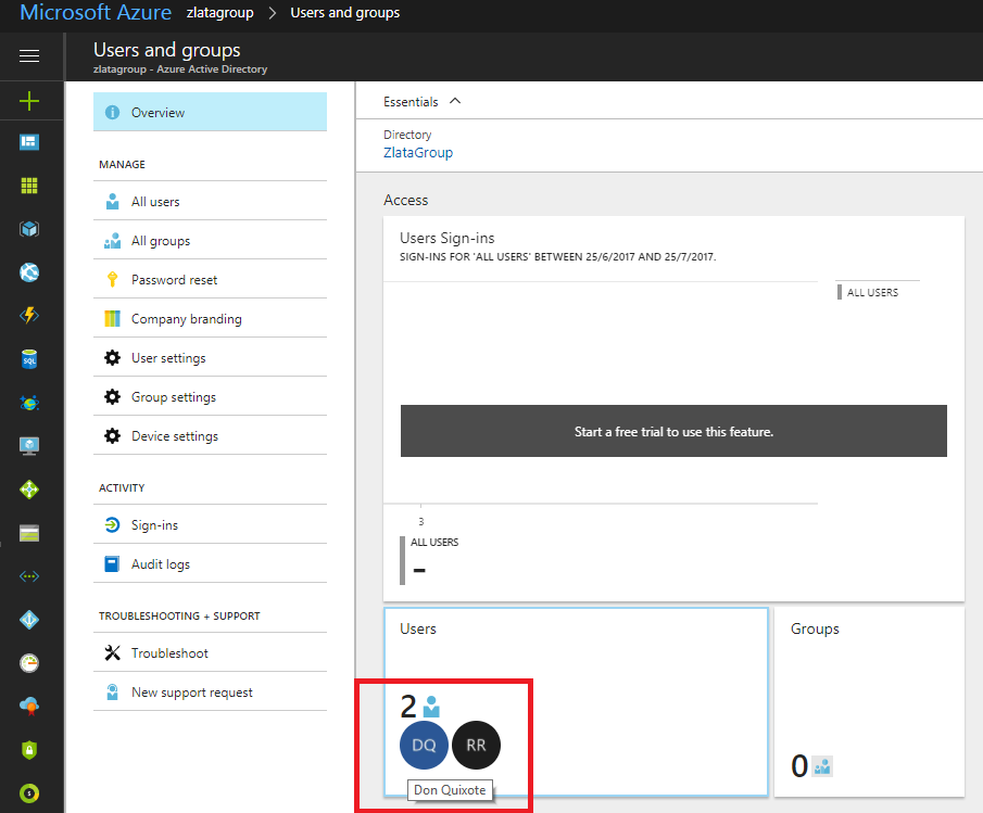 Microsoft Azure Active Directory - Users and Groups - Users and Groups