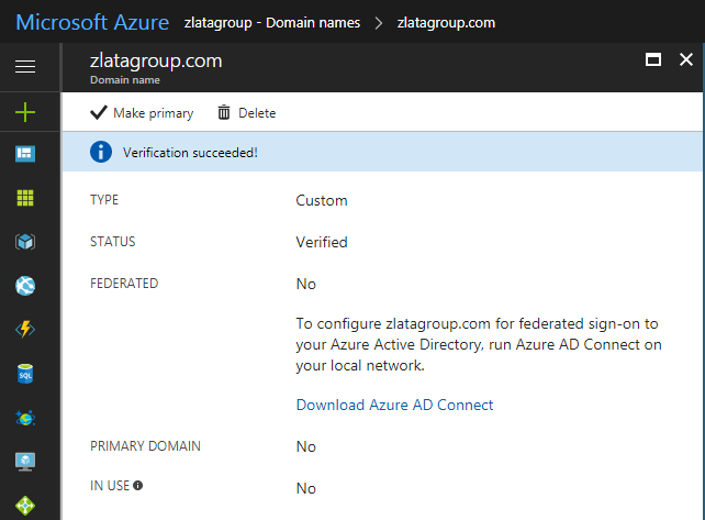 Microsoft Azure Active Directory - Domain Names - Confirmation