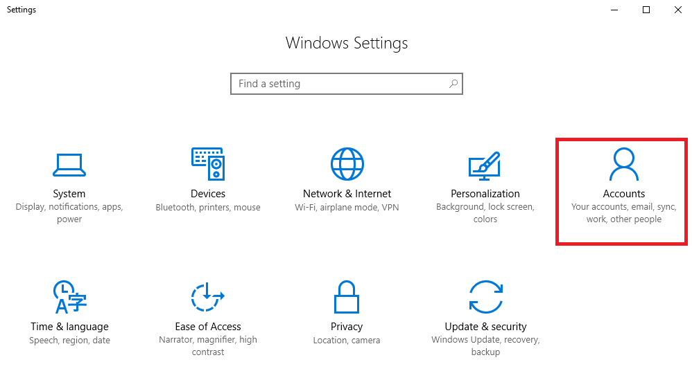 Windows Settings - Accounts