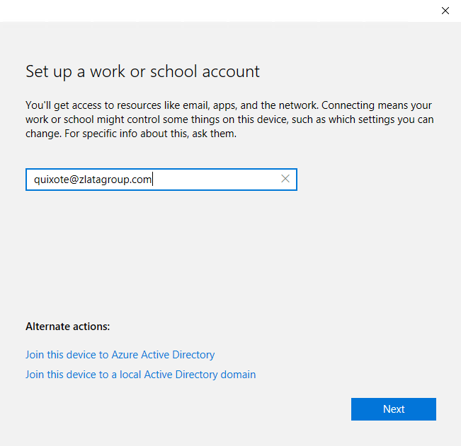 Windors Settings - Accounts - Set up a Work or School Account