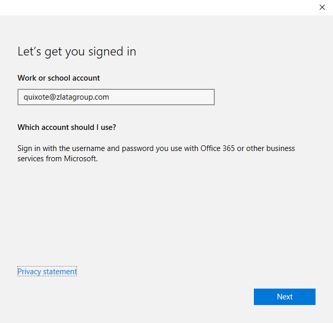 Join the device to Azure Active Directory - Signed in