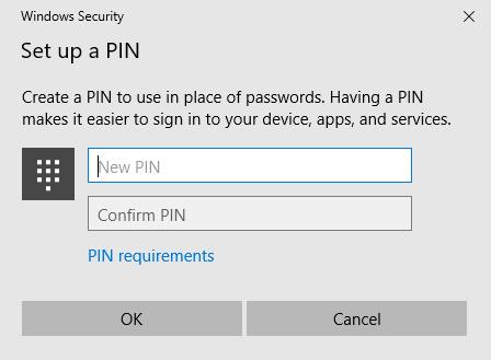 Windows Security - Set up a PIN