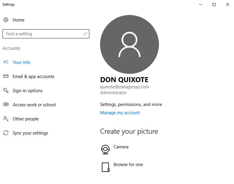 Windows Settings - Accounts - Info