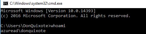 Windows Settings - Whoami Command