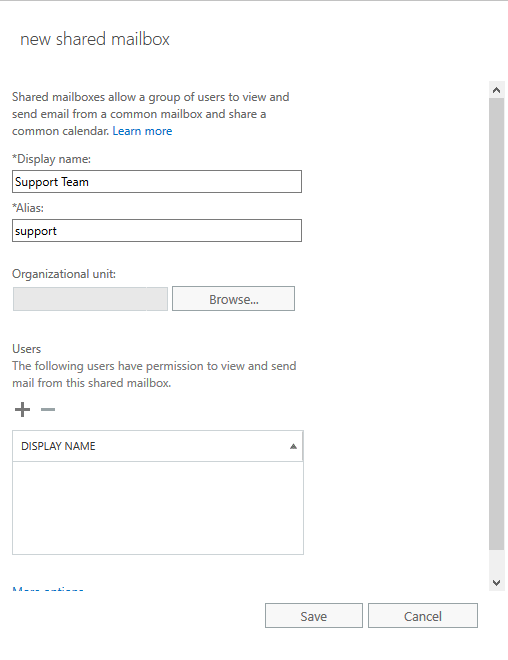 Microsoft Exchange admin center - New Shared Mailbox Window