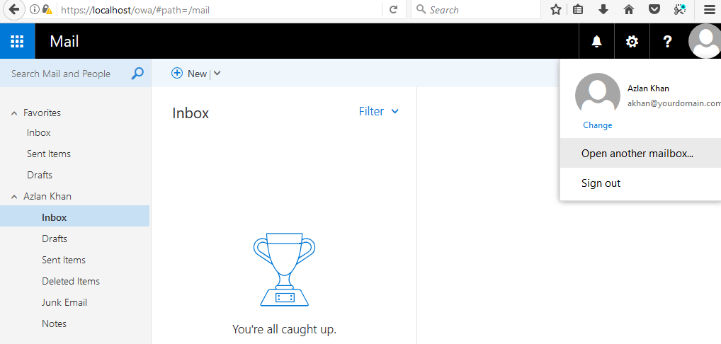 Microsoft Exchange - Mail - Inbox - Open Another Mailbox