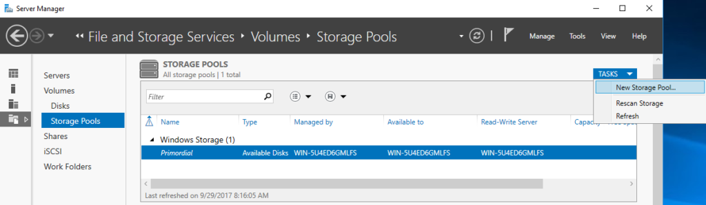 Server Manager - File and Storage Service - Volumes - New Storage Pools