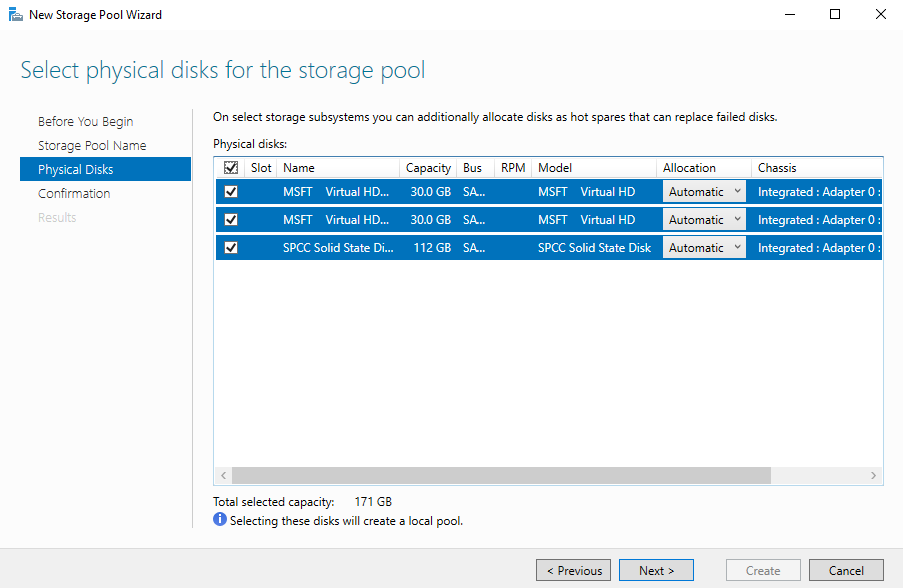 Select physical disks for the storage pool