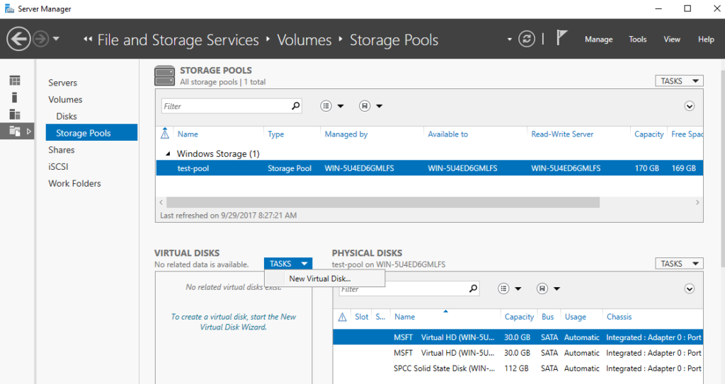 Server Manager - File and Storage Service - Volumes - Storage Pools - New Virtual Disk