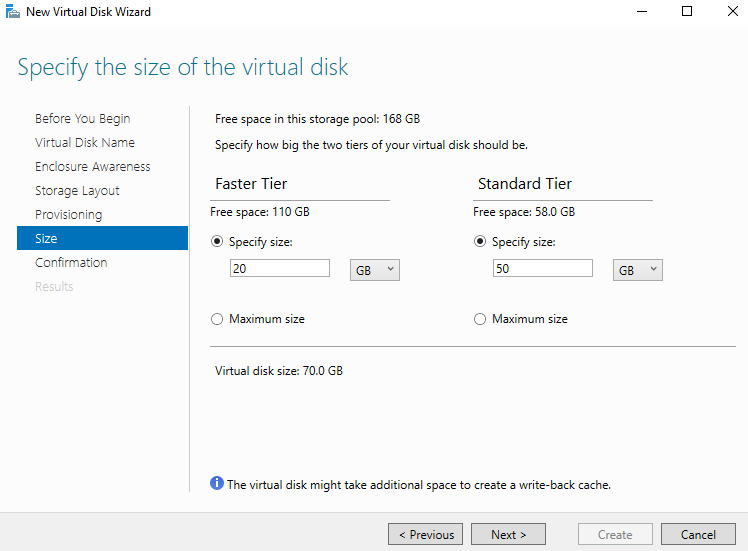 Specify the size of the virtual disk