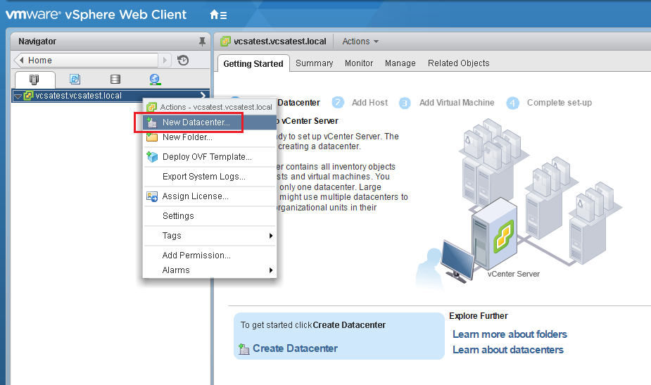 VMware - vShpere Web Client - New Datacenter