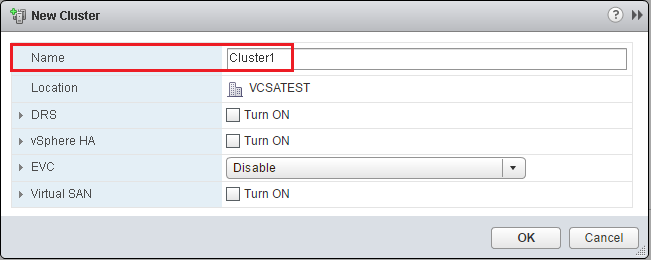 VMware - vShpere Web Client - New Datacenter - New Cluster Name