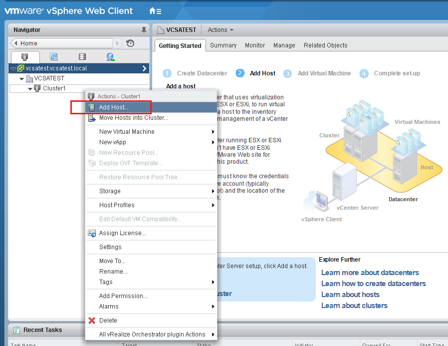 VMware - vShpere Web Client - Add Host