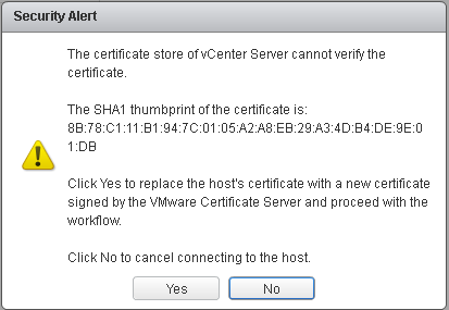 VMware vCenter Security Alert Window