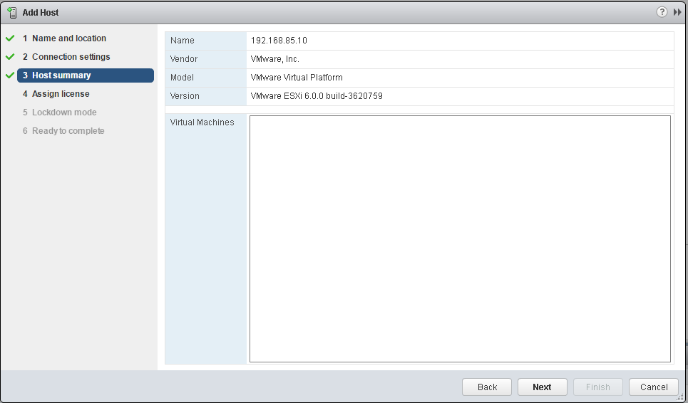 VMware - vShpere Web Client - Add Host - Host summary