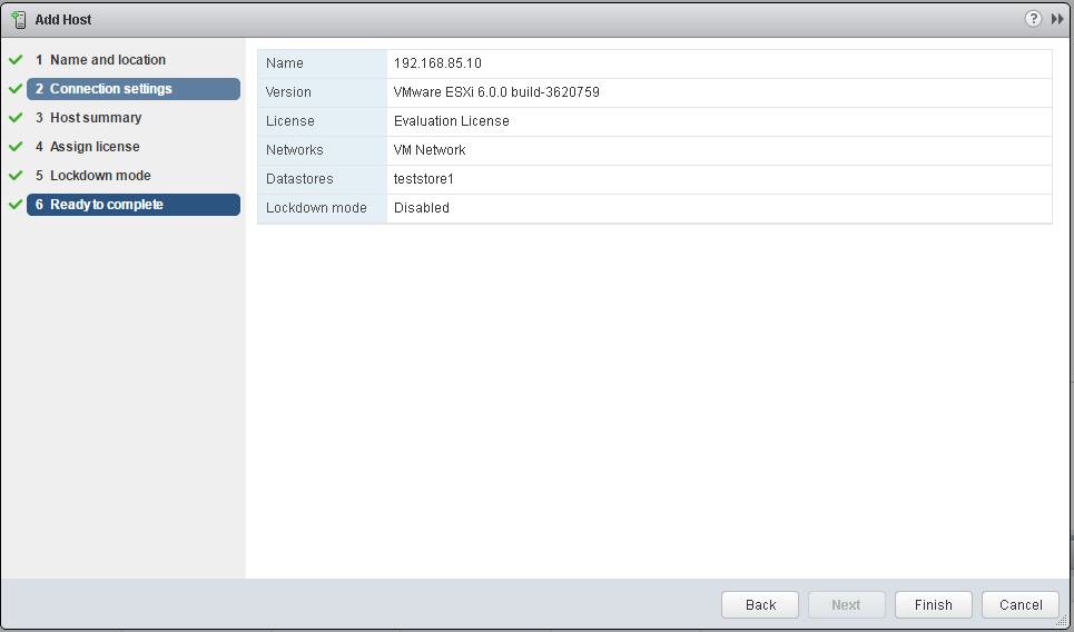 VMware - vShpere Web Client - Add Host - Ready to complete