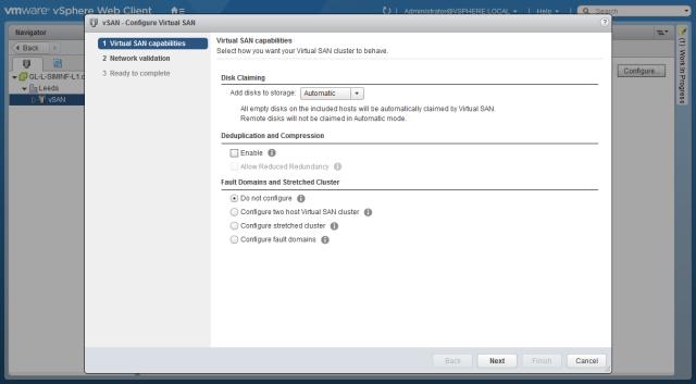 VMware - vSphere Web Client - vSAN - Configure Vitrual SAN