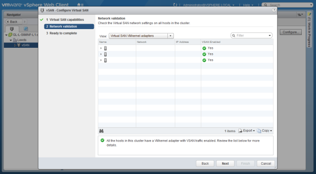 VMware - vSphere Web Client - vSAN - Network validation