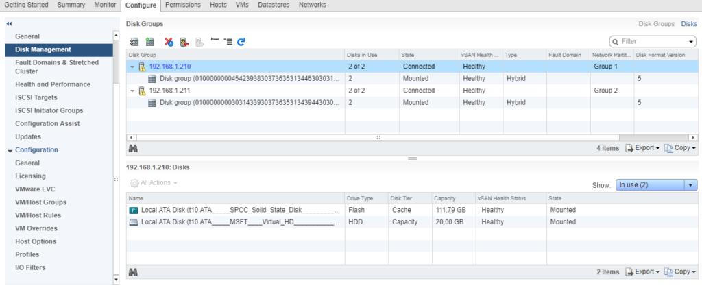 VMware - vSphere Web Client - vSAN - Disk management