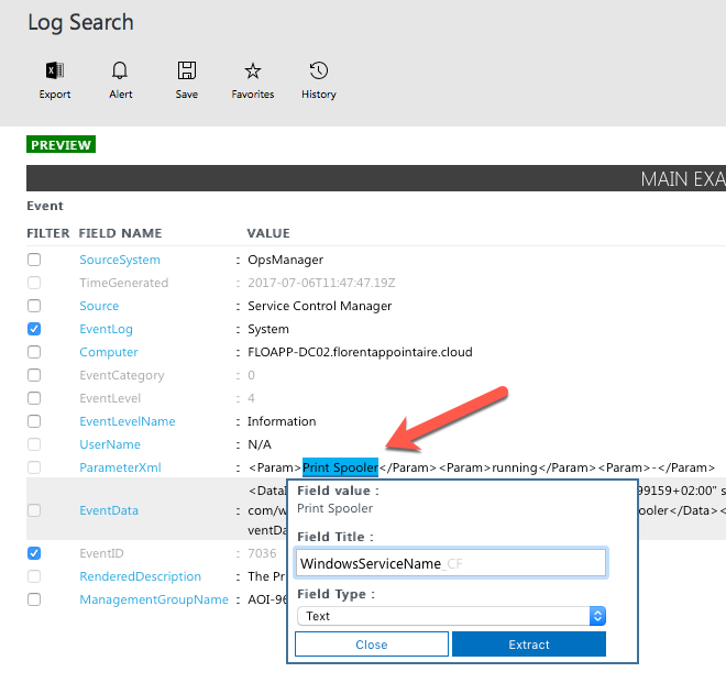Microsoft Operations Management Suite - Log Search - Preview - Extract