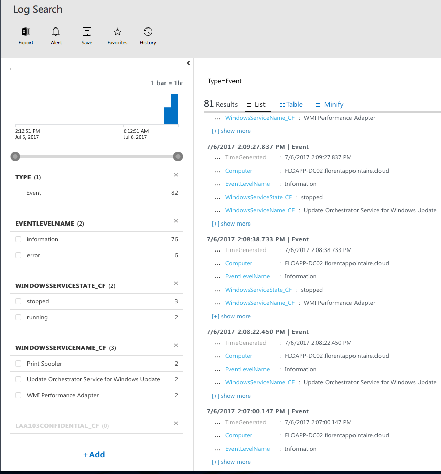 Microsoft Operations Management Suite - Log Search List