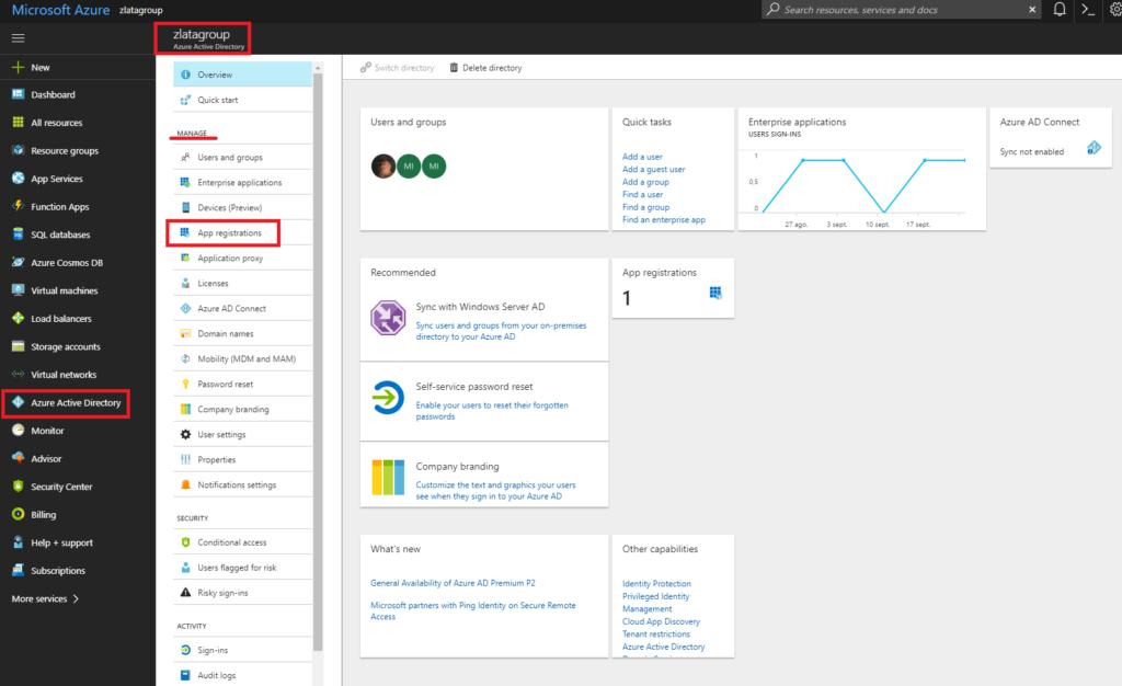 Microsoft Azure - Azure Active Directory - App registration