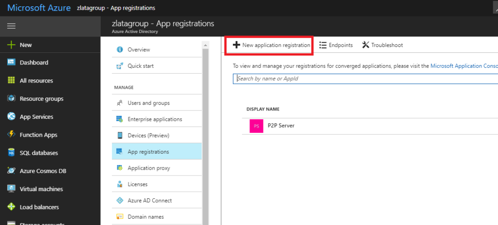 Microsoft Azure - Azure Active Directory - App registration - New application registration