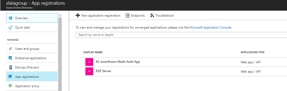 Microsoft Azure - Azure Active Directory - App registration - List of Apps