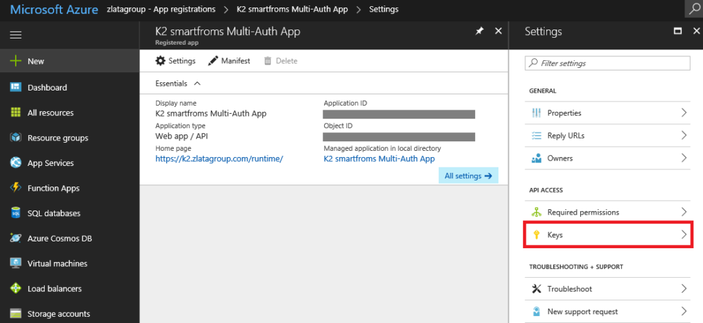 Microsoft Azure - Azure Active Directory - App registration - K2 smartforms Multi-Auth App - Settings - Keys