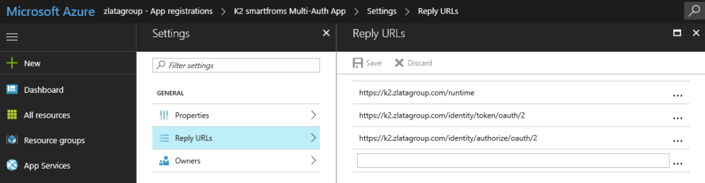 Microsoft Azure - Azure Active Directory - App registration - K2 smartforms Multi-Auth App - Settings - Reply URLs