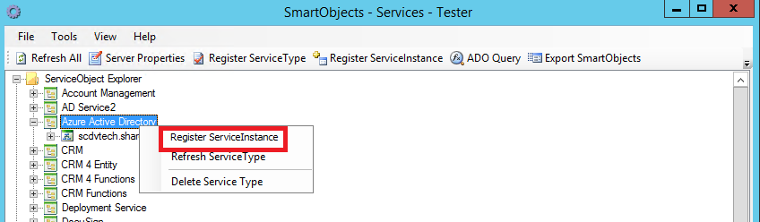 SmartObjects - Services - Tester - AAD - Register ServiceInstance