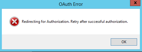 OAuth Error window