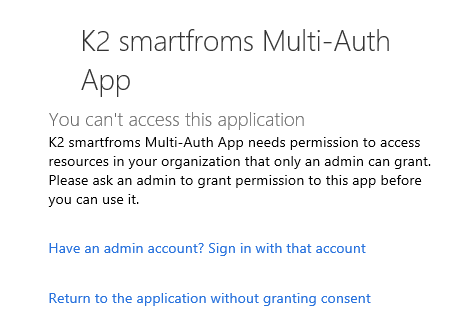 K2 smartforms Multi-Auth App - notification window
