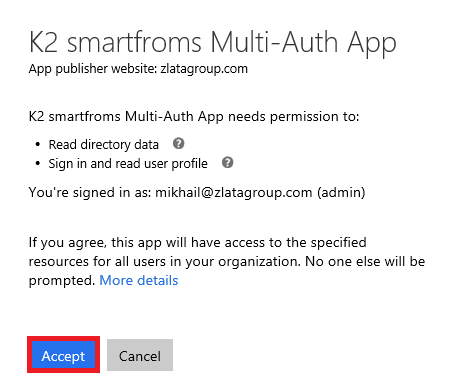 K2 smartforms Multi-Auth App - confirmation permission
