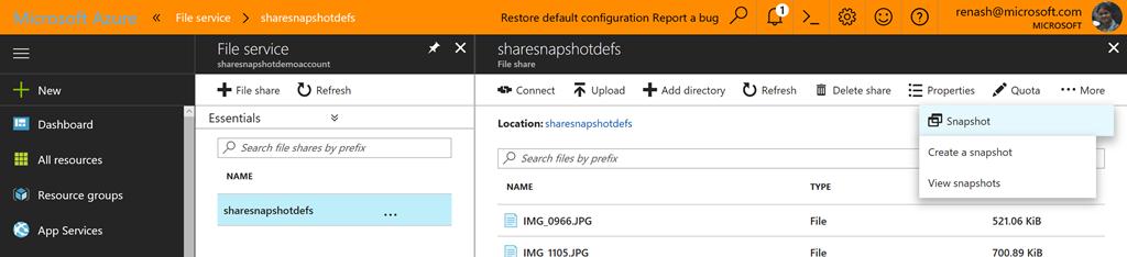 Azure - File Service - Sharesnapshotdefs