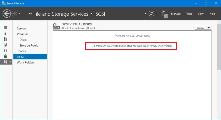 Server Manager - File and Storage Services - iSCSI - Create